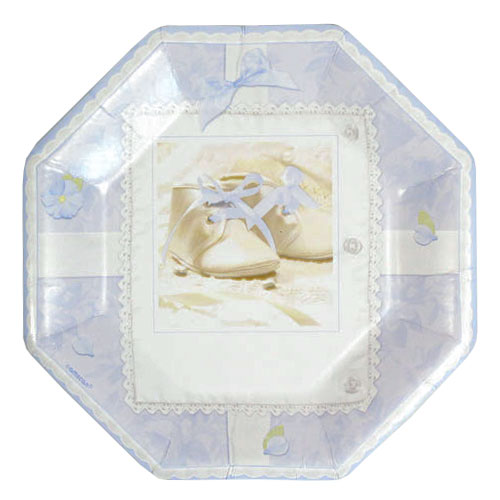 Tiny Blessing Blue Octagonal Paper Plates 25cm - Pack of 8