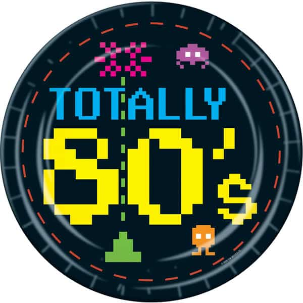 Totally 80's Paper Plates 23cm - Pack of 8