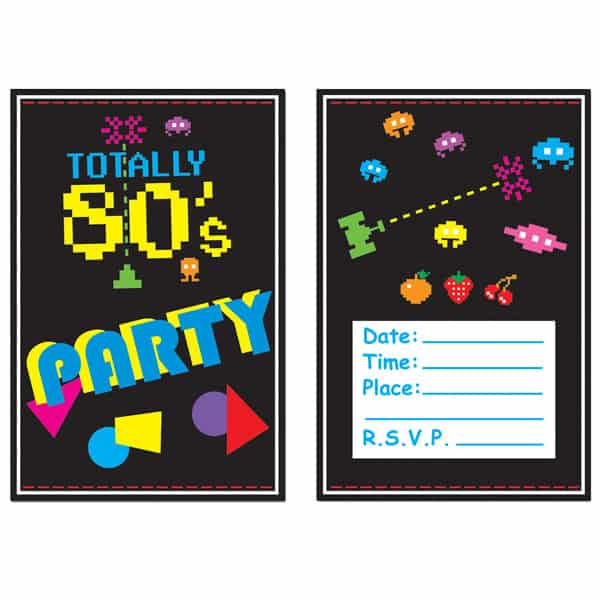 Totally 80's Invitations with Envelopes - Pack of 8 Product Image