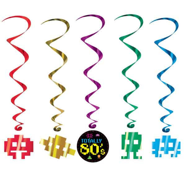 Totally 80's Whirls Hanging Decorations - Pack of 5 Product Image