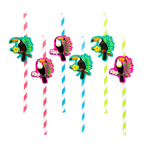 Toucan Hawaiian Paper Straws - Pack of 6 Product Image