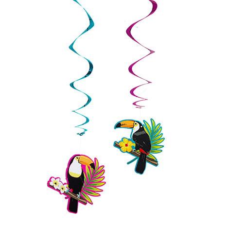 Toucan Hawaiian Swirl Decorations 85cm - Pack of 2 Product Image