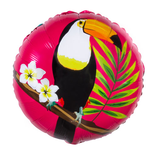 Toucan Hawaiian Two-Sided Round Foil Helium Balloon 45cm / 18 in Product Image