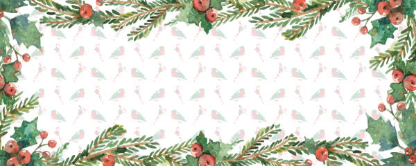 Traditional Christmas Berries And Robins Design Medium Personalised Banner - 6ft x 2.25ft