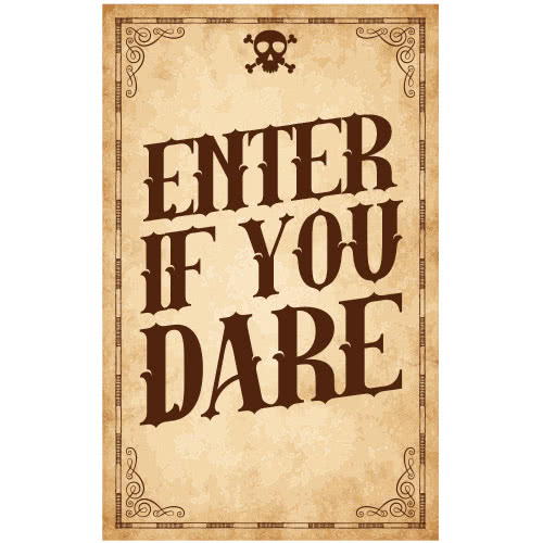 Enter If You Dare Skull Halloween PVC Party Sign Decoration 25cm x 41cm Product Image