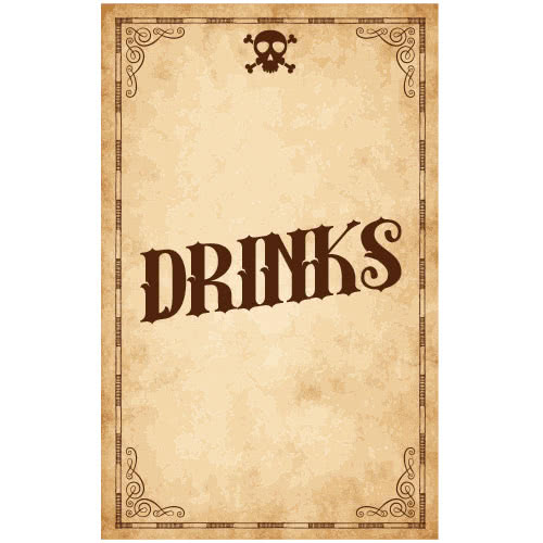 Skull Drinks PVC Party Sign Decoration 25cm x 41cm Product Image