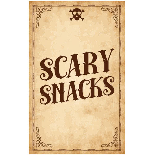 Scary Snacks Skull Halloween PVC Party Sign Decoration 25cm x 41cm Product Image
