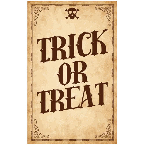 Trick Or Treat Skull Halloween PVC Party Sign Decoration 25cm x 41cm Product Image