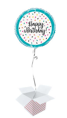 Triangle Confetti Birthday Round Foil Helium Balloon - Inflated Balloon in a Box Product Image
