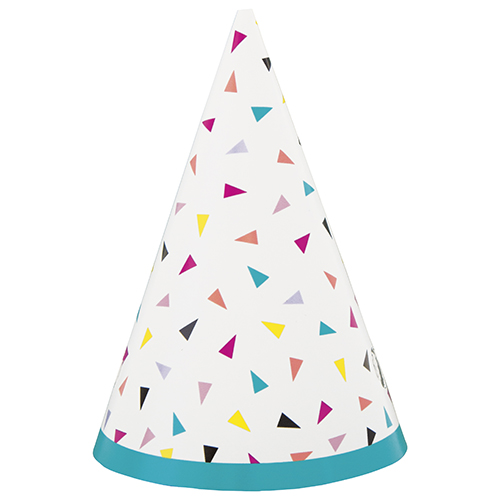 Triangle Confetti Mini Party Cone Hats - Pack of 8 Product Image