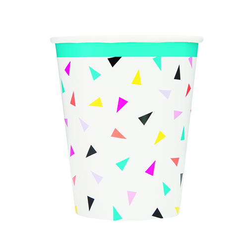 Triangle Confetti Paper Cups 270ml - Pack of 8 Product Image