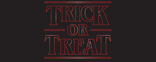 Trick or Treat Halloween Strange Thing PVC Party Sign Decoration 60cm x 25cm Product Image