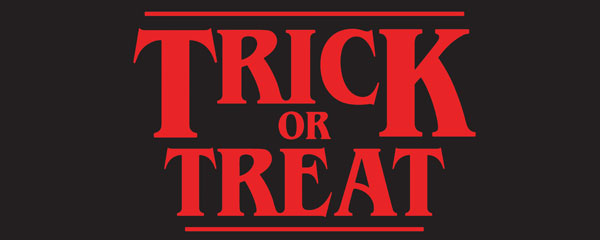 Trick or Treat Red Halloween Strange Thing PVC Party Sign Decoration 60cm x 25cm Product Image