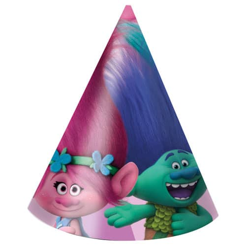 Trolls Cone Party Hats - Pack of 6