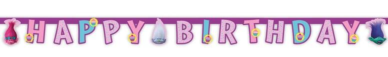 Trolls Happy Birthday Letter Banner - 190cm Product Image