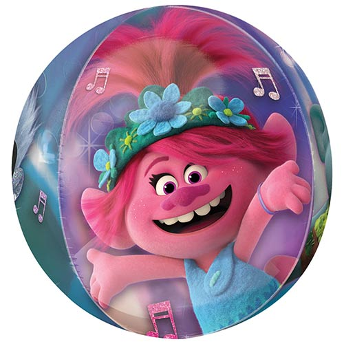 Trolls World Tour Clear Orbz Foil Helium Balloon 38cm / 15 in Product Gallery Image