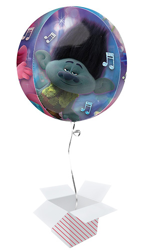 Trolls World Tour Clear Orbz Foil Helium Balloon - Inflated Balloon in a Box Product Gallery Image