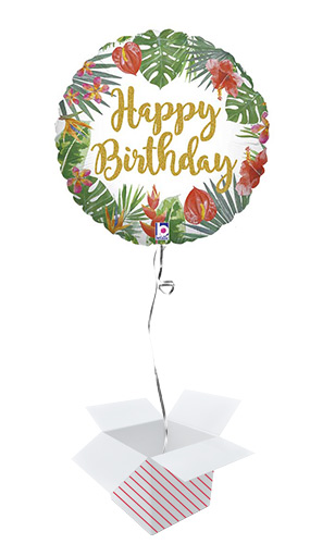 Tropical Birthday Holographic Round Foil Helium Balloon - Inflated Balloon in a Box