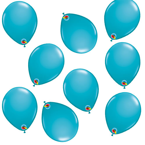 Tropical Caribbean Teal Round Mini Latex Qualatex Balloons 13cm / 5 in - Pack of 100 Product Image