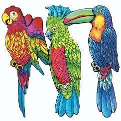 Tropical Exotic Birds Hanging or Wall Decoration - 17 Inches / 45cm - Pack of 3 Product Image