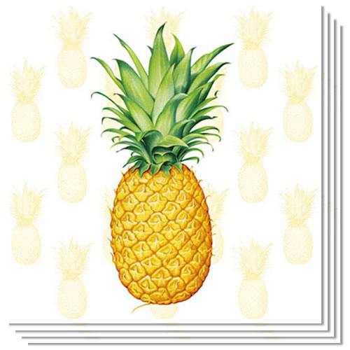 Tropical Fruit Pineapple Luncheon Napkins 3Ply 33cm - Pack of 20