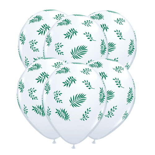 Tropical Greenery Latex Helium Qualatex Balloons 28cm / 11 Inch - Pack of 10