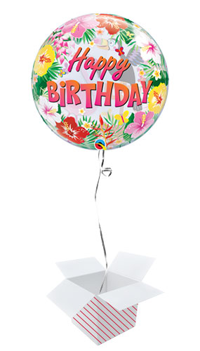 Tropical Hawaii Birthday Party Bubble Helium Qualatex Balloon - Inflated Balloon in a Box