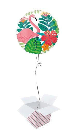 Tropical Jungle Round Foil Helium Balloon - Inflated Balloon in a Box