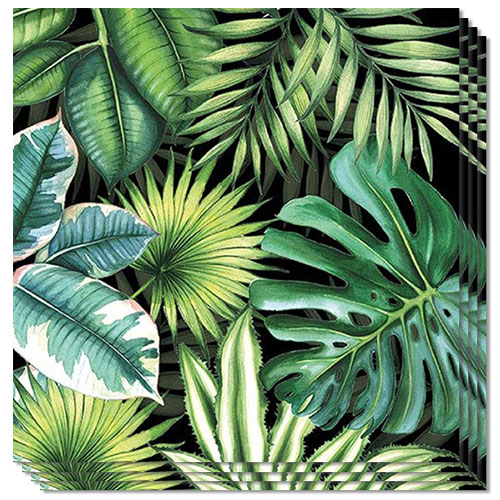 Tropical Leaves Black Premium Luncheon Napkins 3Ply 33cm - Pack of 20