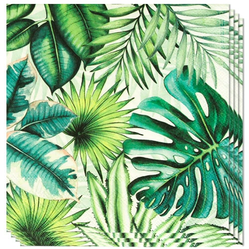 Tropical Leaves Luncheon Napkins 3Ply 33cm - Pack of 20