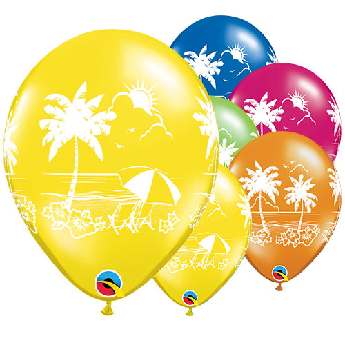 Tropical Vistas Assorted Latex Helium Qualatex Balloons 28cm / 11 in - Pack of 25 Product Image