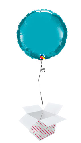 Turquoise Round Foil Helium Qualatex Balloon - Inflated Balloon in a Box