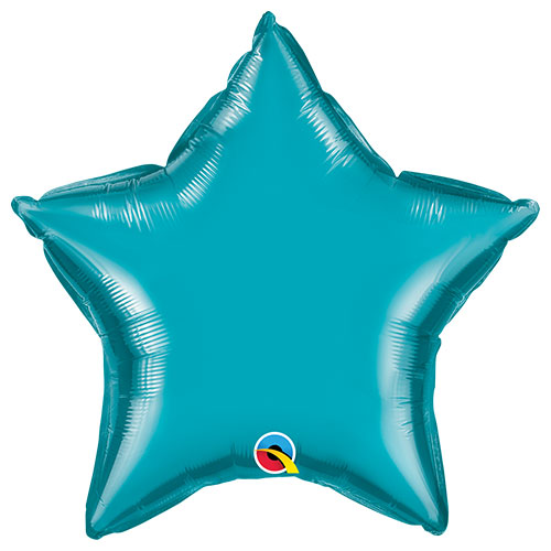 Turquoise Star Foil Helium Qualatex Balloon 51cm / 20 in Product Image