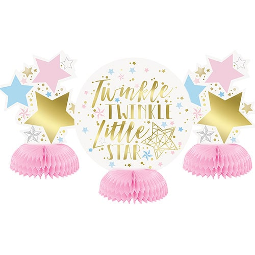 Baby Shower Twinkle Twinkle Little Star Honeycomb Centrepieces Table Decorations 15cm - Pack of 3