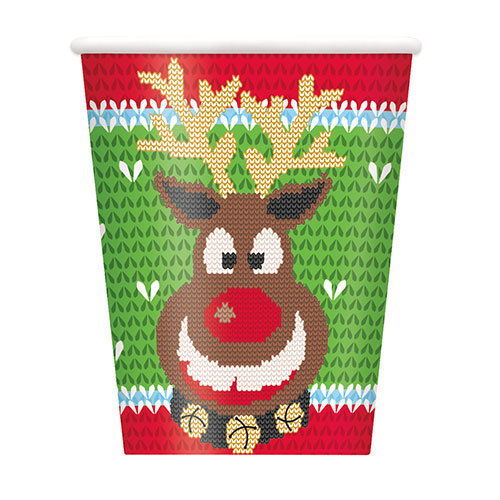 Ugly Sweater Christmas Paper Cups 270ml - Pack of 8 Product Image