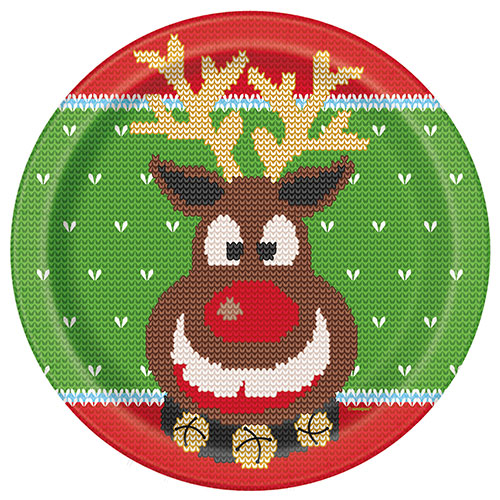 Ugly Sweater Christmas Round Paper Plates 22cm - Pack of 8 Product Image