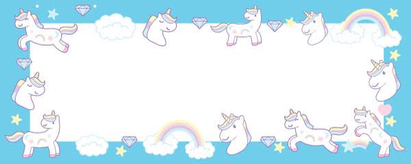 Unicorn And Diamonds Kawaii Design Medium Personalised Banner - 6ft x 2.25ft