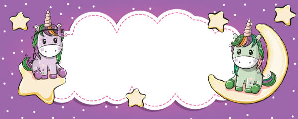 Unicorn And Stars Kawaii Design Medium Personalised Banner - 6ft x 2.25ft