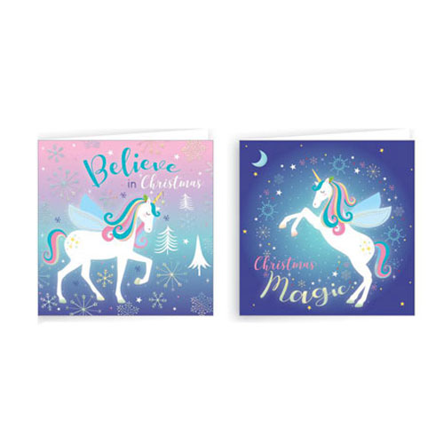 Assorted Metallic Unicorn Christmas Cards with Envelopes 10cm - Pack of 20
