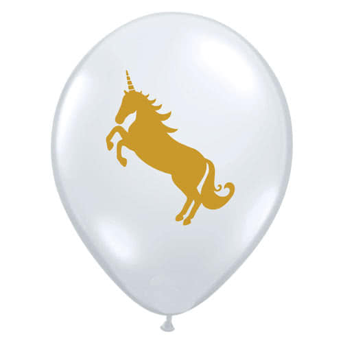 Unicorn Clear Latex Helium Qualatex Balloons 28cm / 11Inch - Pack of 25 Product Gallery Image
