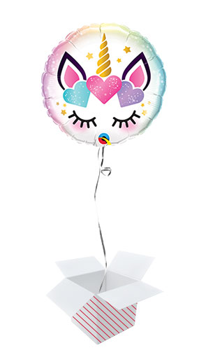 Unicorn Eyelashes Round Foil Helium Qualatex Balloon - Inflated Balloon in a Box
