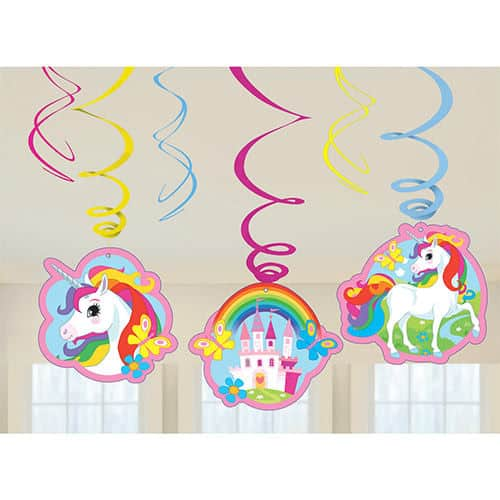 Unicorn Hanging Swirl Decorations - Pack of 6