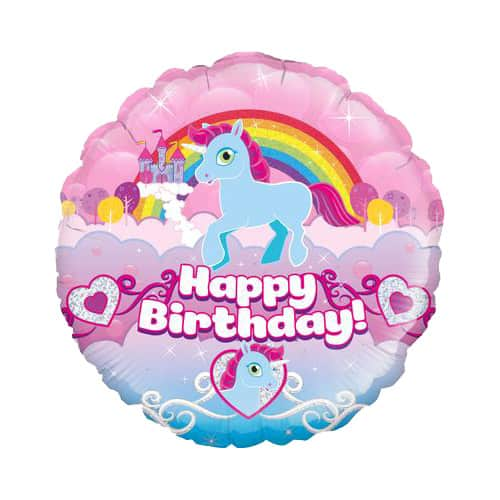 Unicorn Happy Birthday Holographic Round Foil Helium Balloon 46cm / 18Inch