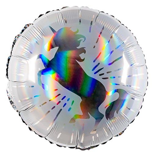Unicorn Holographic Round Foil Helium Balloon 45cm / 18 in