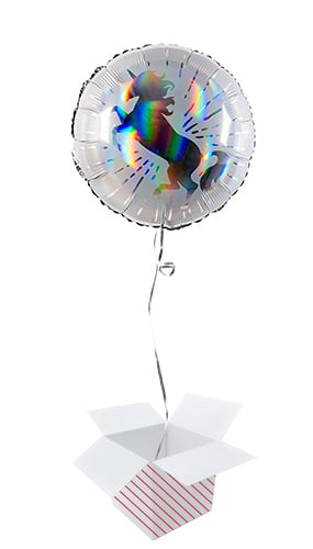 Unicorn Holographic Round Foil Helium Balloon - Inflated Balloon in a Box Product Image