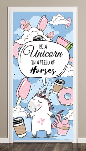 Be A Unicorn In A Field Of Horses Blue Sky Clouds Door Cover PVC Party Sign Decoration 66cm x 152cm Product Image