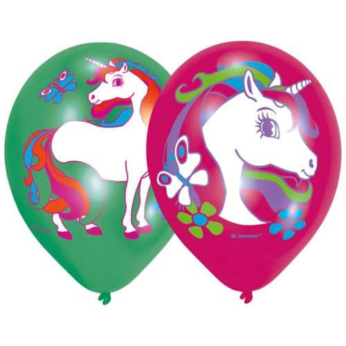 Unicorn Latex Balloons 27cm - Pack Of 6 Bundle Product Image