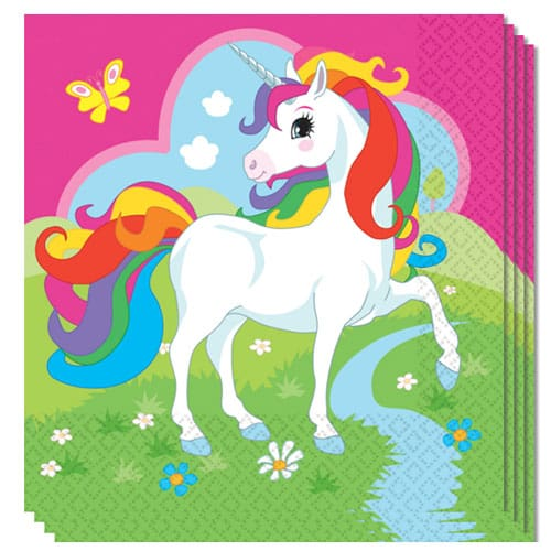 Unicorn Luncheon Napkins 2 Ply 33cm Pack Of 20