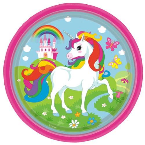 Unicorn Round Paper Plates 23cm - Pack of 8
