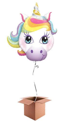Unicorn Shaped Helium Foil Giant Qualatex Balloon - Inflated Balloon in a Box Product Image